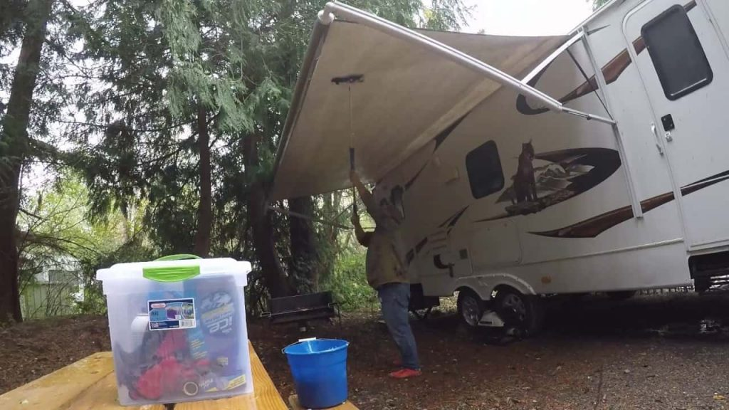 clean a camper awning