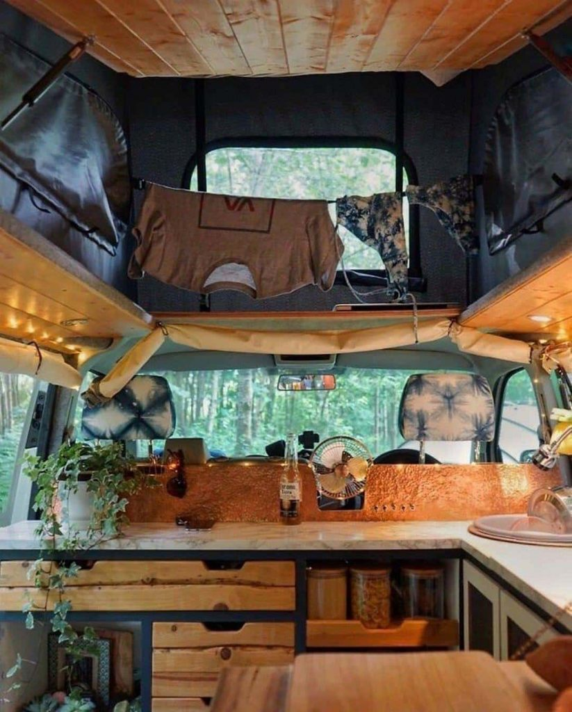 pop top camper van interior